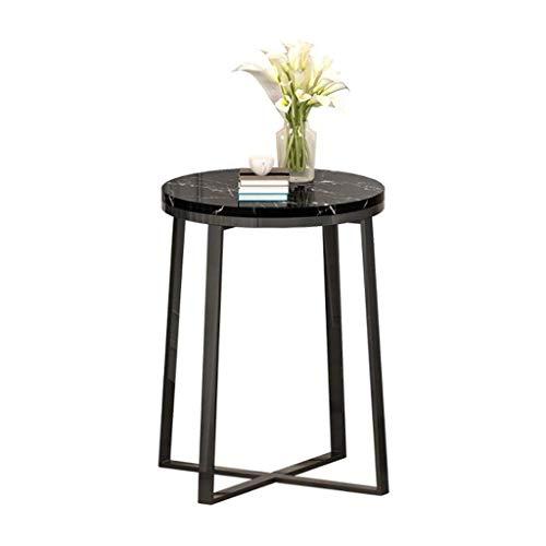 Woonkamer round salontafel Round Side Table/End Table, Zwart Small Bureau, Faux Marble Top Metal Base, for de slaapkamer en Nightstand Moderne woonkamer ronde tafel