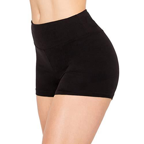 ALWAYS Women Workout Yoga Shorts - Premium Buttery Soft Solid Stretch Cheerleader Running Dance Volleyball Short Pants Black S