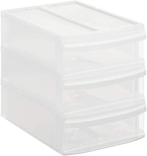 Rotho Systemix Schubladenbox mit 3 Schüben, Kunststoff (PP) BPA-frei, transparent, S/A5 (26,5 x 19,2 x 23,3 cm)