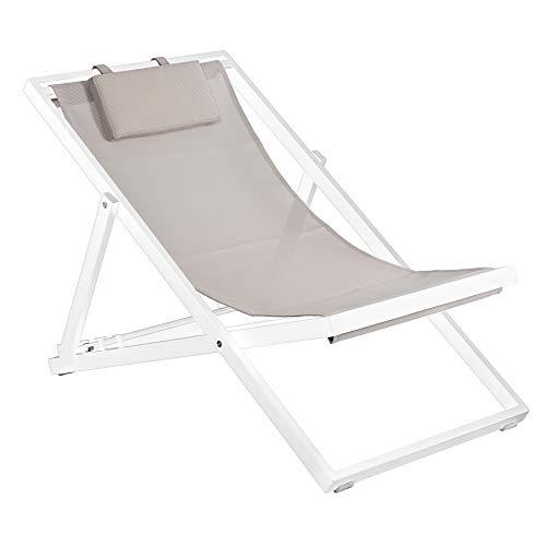 Duramax, telaio bianco con fionda color tortora Newport, 3 posti reclinabili con comodo poggiatesta, ponti pieghevoli, terrazzi, piscine, spiaggia e altro ancora, sdraio da giardino, con poggiatesta