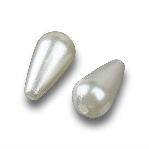 Linsoir Beads White Plastic Faux Pearl Teardrop Imitation Pearl Beads DIY Jewelry Supplier 8X15mm Pack of 100