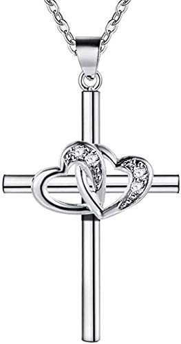 LJWJ Collar para Mujeres Cruzar Amor Cadena de Clavícula Parejas Adornos de Ropa Regalos de Cumpleanos Día de la Madre Niña Regalo/A/cross