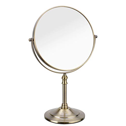 Gecious Standing Makeup Mirror 8 Inches Dual-Sided 1X/10X Magnifying Tabletop Vanity Mirror,304 Stainless Steel, Countertop 14-inch Height Nickel Brushed