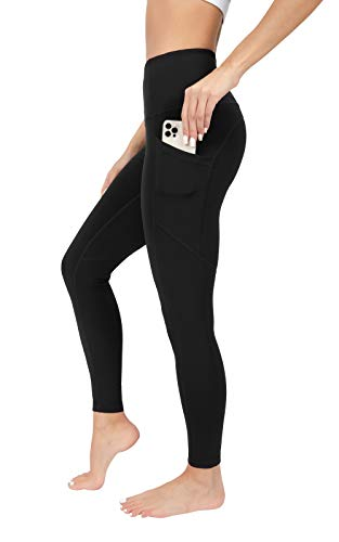 90 Degree By Reflex Power Flex Yoga Pants - High Waist Squat Proof Ankle Leggings With Pockets for Women - Black - Small