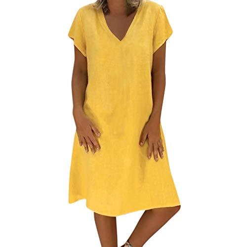 Xiangdanful Damen Sommerkleid Boho Strandkleider Leinenoptik Casual Freizeitkleid Einfarbig MiniKleid Rock Beachwear Knielang Kurzarm V-Ausschnitt Bikinikleid Retro Bikini Cover Up (L, Gelb)
