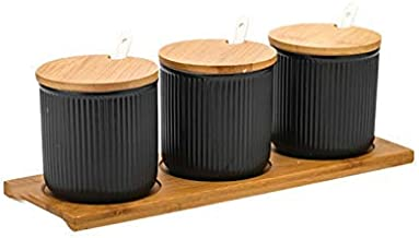 Household Japanese Glaze Ceramic Spice Jars Fashion Kitchen Seasoning Bottles Sets with Seal Cover Tray-Black for Kitchen ...