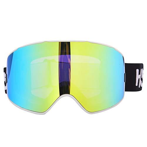 FOLOSAFENAR Gafas de esquí Protección del Medio Ambiente para Esquiar para Deportes al Aire Libre(White Frame Gold)