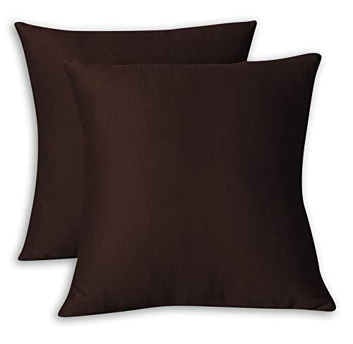 FARFALLAROSSA Fundas de cojín cuadradas, impermeables y antimanchas, decoración para sofá, 55 x 55 cm, color marrón, paquete de 2