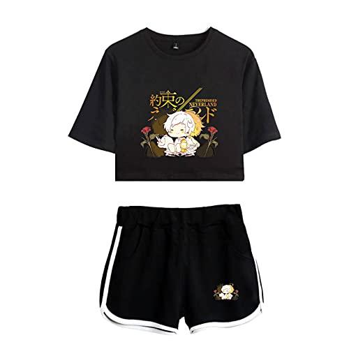 WWZY The Promised Neverland Camiseta y Pantalones Cortos Conjunto para Niñas de...