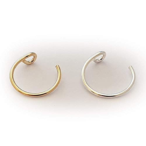 Set of 2 Faux Clip-On Nose Rings 20g - 925 Sterling Silver - 14k Gold Filled - No Piercing Needed for This Nose Ring