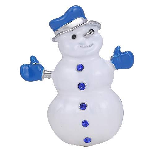 XZFCBH Broche Retro Christmas White K Diamond Snowman Enamel Blue para Mujer Vintage Christmas Jewelry Alloy Clothing Hat Broche