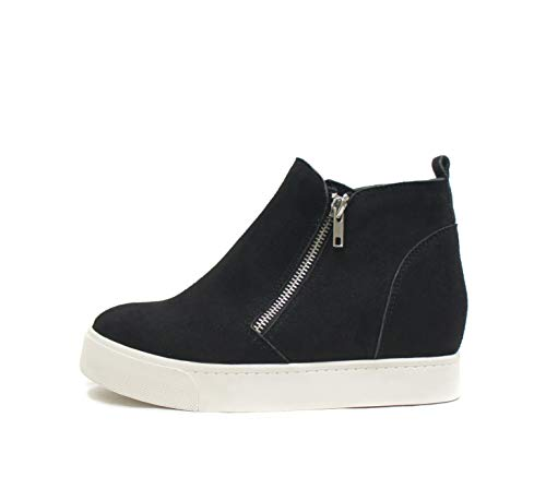 Soda Taylor Hidden Wedge Sole Booties Ankle Heels Sneaker Shoes Side Zipper (8, BLACK)