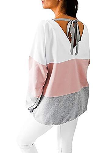 Generic Damen Sweatshirt Langarmshirt V-Ausschnitt Pullover Casual Sport Shirt Oberteile mit Tie Back, Rosa, XL