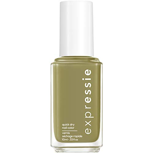 essie expressie Quick-Dry Vegan Nail Polish, Olive Green 320 Precious Cargo-Go!, 0.33 Ounces