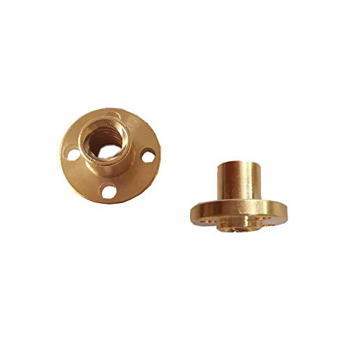 Euroharry para impresora 3D de varilla roscada de plomo T8 de 8 mm Reprap piezas Z-Axis Latón T8 Tuerca de tornillo trapezoidal (2 piezas)
