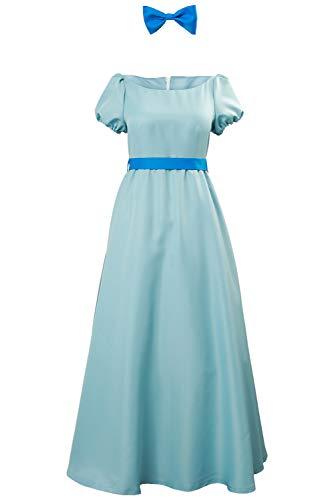 Wendy Cosplay Dress Costume Halloween Princess Fancy Maxi Blue Dress for Women Kids