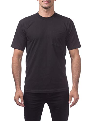 Pro Club Men's Heavyweight Cotton Short Sleeve Pocket T-Shirt, X-Large, Black