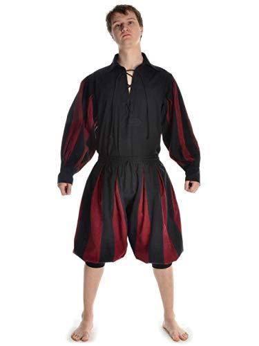 HEMAD Pantalons Landsknecht médiéval pour Hommes - Calf-Longueur - Coton Pur - XXL/XXXL Noir-Rouge