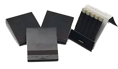 100 Plain BLACK 20 Strike Matches Matchbooks Wedding WITH WHITE HEADS
