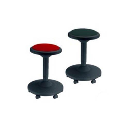 neoLab 2-2051 Hocker Schwarz mit Rotem Sitzpolster, 6 Rollen