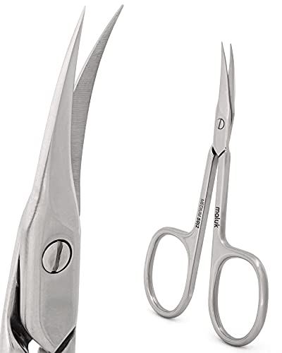 Maluk Professional Cuticle Scissors Curved Medium SE-50/2 13/16 Inch (21 mm) Stainless Steel Manicure Pedicure Care Tools Nail Eyebrow Beard Moustache Eyelash Trimming Expert 50 Type 2
