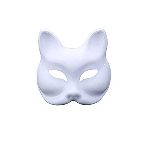 Meimask 10pcs Bricolaje Papel Blanco mscara de Pulpa en Blanco mscara Pintada a Mano Personalidad Creativa mscara de diseo Libre (Mitad de la Cara de Zorro)