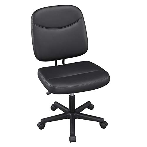 YAHEETECH Armless Leather Desk Chair Low-Back Adjustable Office Chair Mid-Back Task Chair, Black