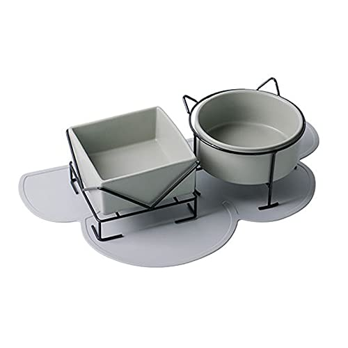 Cuenco de cerámica para Gatos, Cuenco Doble para Perros con Soporte, Antideslizante y fácil de Limpiar, Gris
