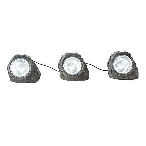 3x LED Außen Leuchten Garten Weg Boden Lampen Stein Optik Terrassen Steh Strahler Globo 3702-3