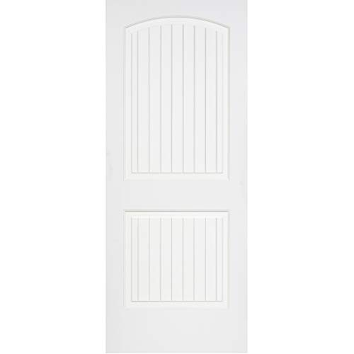 Kimberly Bay 2-Raised Panel Arch Top V-Groove White Solid Core Pine Interior Door Slab (80x30)