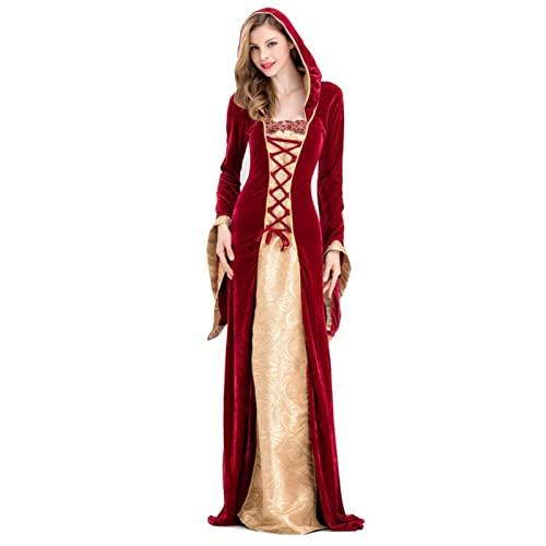 XHDDYY-Disfraz Halloween Mujer, Adulto Capa con Capucha Terciopelo Largo Medieval, para Cosplay Carnaval Fiesta,XL