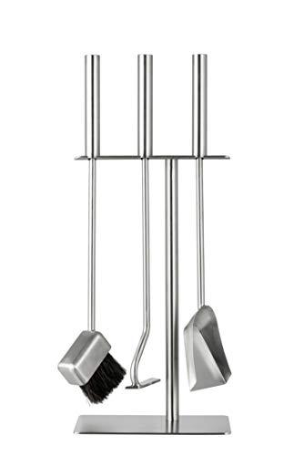 HANSA Premium Kaminbesteck Set (3 Teile) SS Edelstahl Quadratischer Aufhänger Modern Feuerwerkzeuge Begleitset Zubehör Kamin Edelstahl Bürste