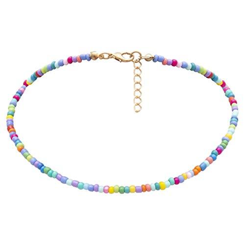 Holibanna Frauen Choker Halskette Samen Joker Perlen Einlagigen Hals Kette Schmuck (Bunt)