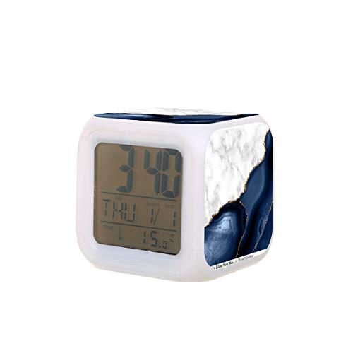 Elektrischer Wecker mit weißem Marmor, mit marineblauem Achat, Nachtlicht, Schlaf-Timer, Schlaffunktion, Temperaturerkennung mit 7 Farben von Lichtern