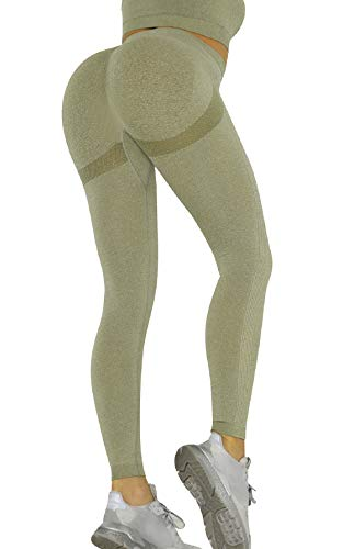 CMTOP Pantalón Deportivo de Mujer Mallas para Running Training Fitness Estiramiento Yoga Leggins Pantalon Push up Deporte Cintura Alta Pantalones Deporte (Verde, M)