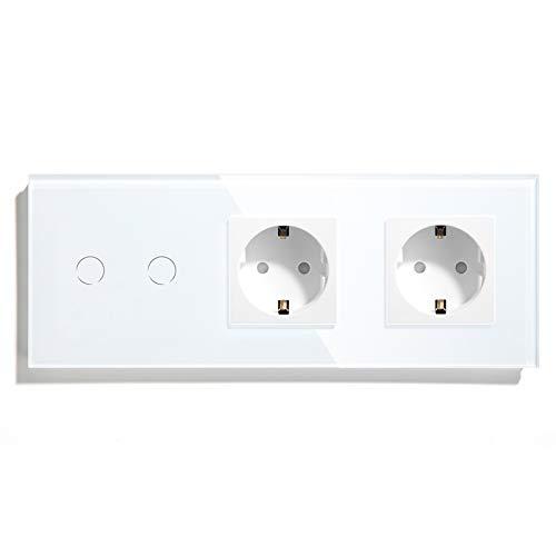 BSEED Interruptor con Enchufe Doble,2 Gang 1 Vía Interruptor de Luz con Enchufe de pared,Blanco Interruptor tactil de Luz pared con indicador LED,enchufes de extensión con panel de vidrio templado
