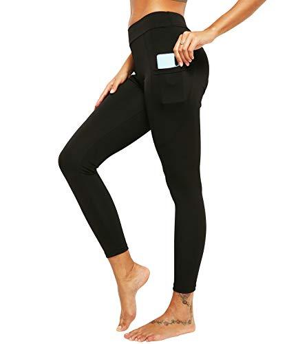 DUROFIT Pantaloni da Donna da Yoga con Tasca Legging Contenitivi Pantaloni Sportivi Vita Alta Lunghi Yoga Fitness Palestra Nero L