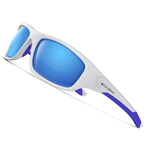 Torege Gafas de sol deportivas polarizadas para hombres y mujeres Ciclismo Correr Pescar Golf TR90Montura irrompible TR011, Black Frame Wiht Black Lens