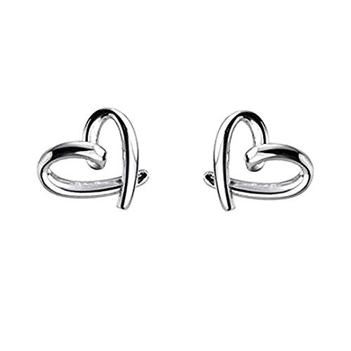 Minimalist Heart Sterling Silver Earrings for Women Girls Teens Charm Hollow Love Hearted Stud Tiny Small Cartilage Tragus Post Pin Hypoallergenic Pierced Ear Jewelry Birthday Valentine
