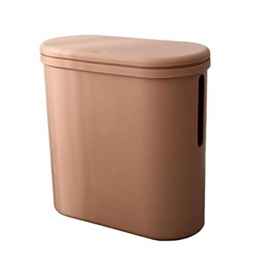 Toho Papelera de plástico con tapa y caja de almacenamiento de papel higiénico rectangular delgado, reciclado para inodoro, baño/marrón