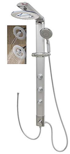 Duschpaneel Eckmontage ohne Armatur Regendusche Silber Dusche mit Massagedüsen Shower Panel