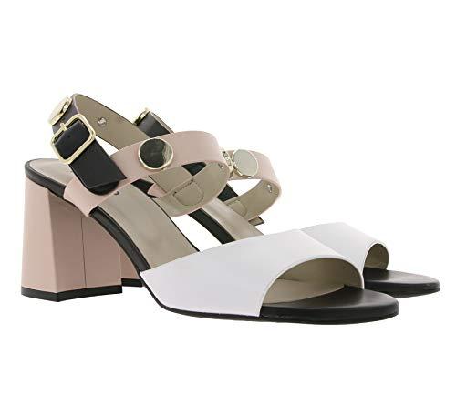 Heine Schuhe Echtleder Sommer-Schuhe Sandaletten modische Damen Sandalen Büro-Schuhe mit Blockabsatz Beige, Größe:42