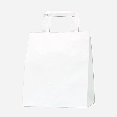 HEIKO シモジマ 手提げ紙袋 Hフラットチャームバッグ 220-2 白無地 1袋 50枚