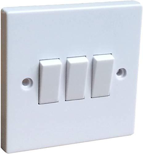 Invero Interruptor eléctrico de pared de 3 vías, 2 vías, blanco basculante estándar, cuadrado, 10 amperios