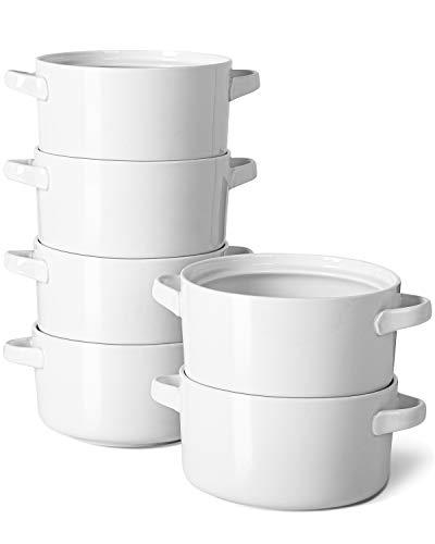 24 Oz Soup Bowls with Handles - Delling Ceramic Crocks for French Onion Soup Cereal Chilli Porcelain Serving Soup Bowl Set of 6 White