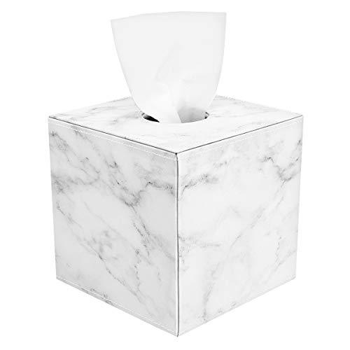Luxspire Caja de Servilleta para Papel en Rollo de Cuero, Dispensador de Caja para Facial Tissue, Tejido, Paple Higiénico Usado en Baño/Dormitorio/Coche/Oficina - Mármol Blanco