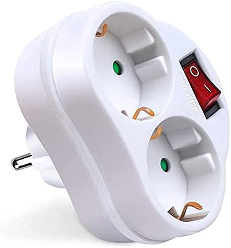 Adapter, Weiß, mit 2 Anschlüssen, Ein-Aus-Schalter