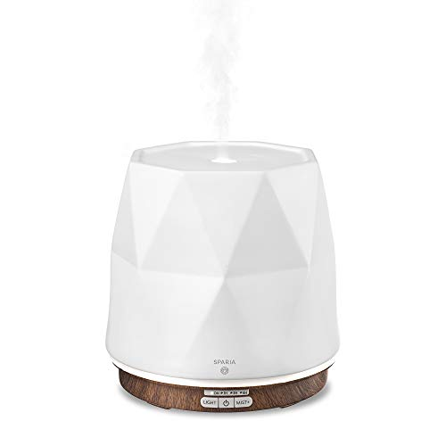 Sparia Ceramic Ultrasonic Essential Oil Diffuser for Aromatherapy, Matte White with Wood Grain, 300ml, 18 Hour Runtime
