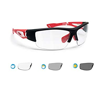 Bertoni Polarized Sport Sunglasses Photochromic Men Women Cycling Running Fishing Golf 1001 (Matt Black / Red - Photochromic Lenses)