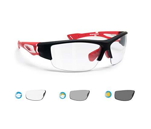 BERTONI Gafas de Sol Deportivas Fotocromaticas para Hombre Mujer Deporte Ciclismo Running Esqui MTB – Mod. 1001 (Negro/Rojo - Lentes Fotocromáticas)
